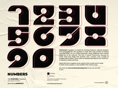 """ThePuncher Typeface """"Character set"""" character set glyphs numbers typographic font typeface type typography branding lettering graphic adobe illustrator design illustration"""