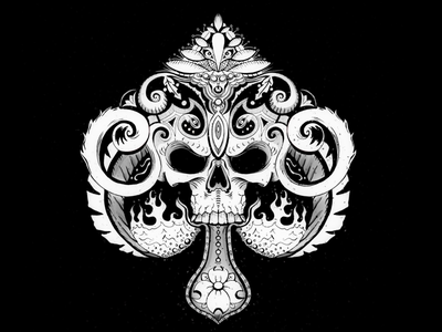 Illustrated Spades playing cards procreate illustration tattoos bw monochrome skull spades