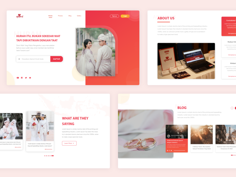 Landing Page Website Startup Qtaaruf muslimwedding taaruf dating muslim indonesia uiux website ui ux design mobile branding brand design web