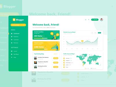 Redesign Dahsboard Blogger website ui web design ux