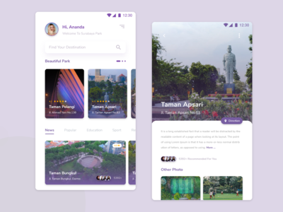 Surabaya Park Application Mobile UI