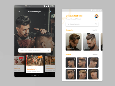 Barbers Shop Mobile UI