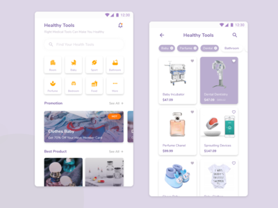 Mobile Healthy Tools Shopping UI