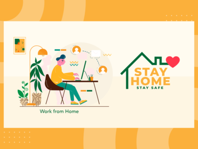 Stay Home Stay Safe Illustration appdesign app vector illustration website icon ui ux
