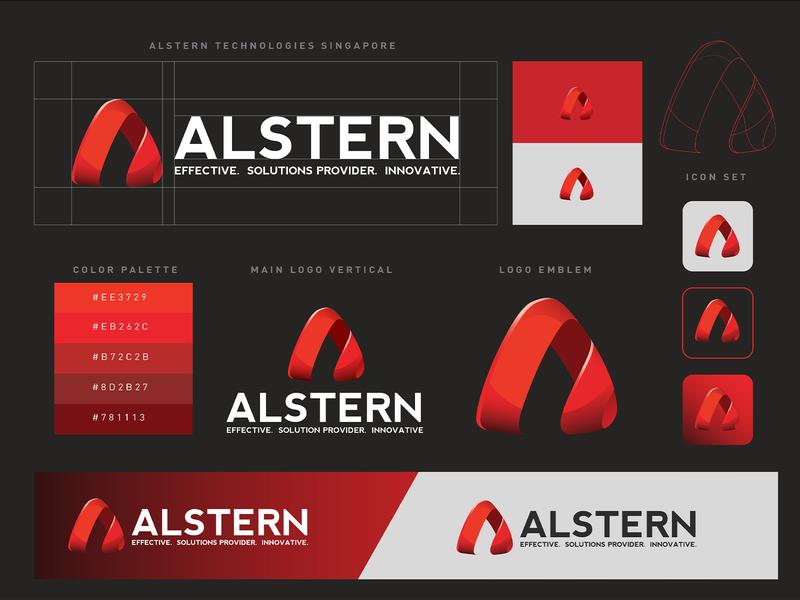 Alstern Technologies Singapore Red Branding design   01 logotype red branding red card business card logodesign solution sg singapore vi branding red logo technology alstern