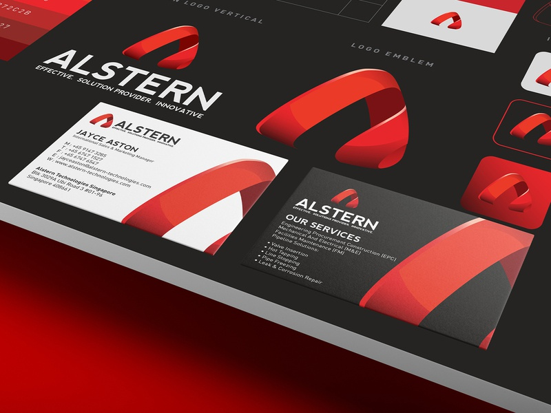 Alstern Technologies Singapore Red Branding design   01 a logo logotype red branding red card business card logodesign solution sg singapore vi branding red logo technology alstern