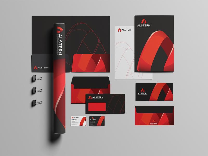 Alstern Technologies Singapore - Branding design a logo logotype red branding red card business card logodesign solution sg singapore vi branding red logo technology alstern