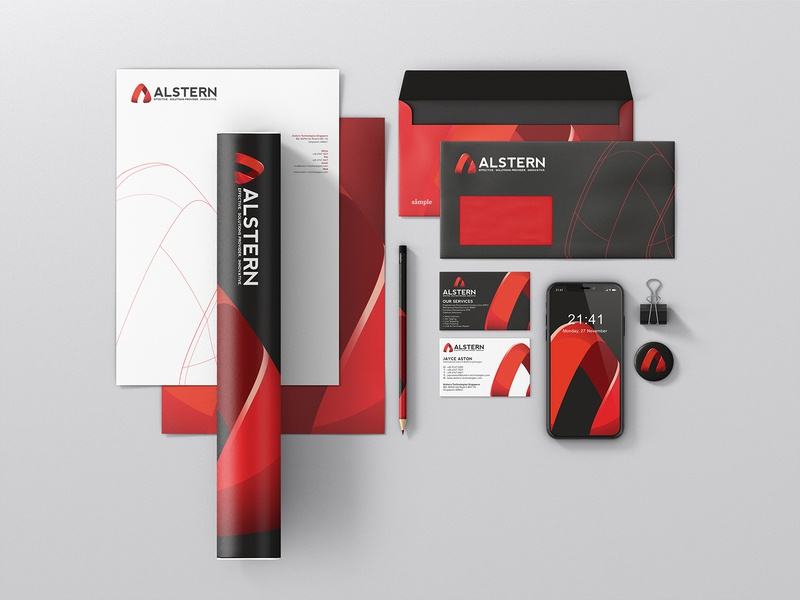 Alstern Technologies Singapore   Red Branding design   08 a logo logotype red branding red card business card logodesign solution sg singapore vi branding red logo technology alstern