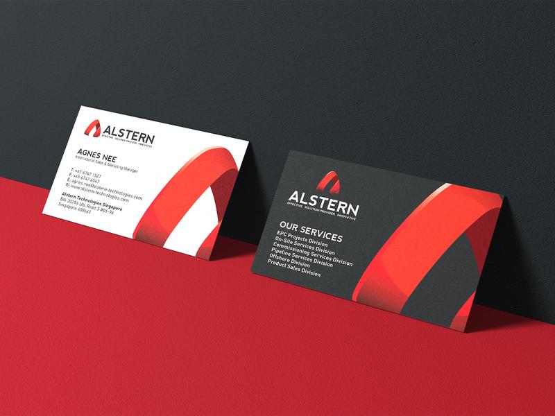 Alstern Technologies Singapore   Red Branding design   09 a logo logotype red branding red card business card logodesign solution sg singapore vi branding red logo technology alstern