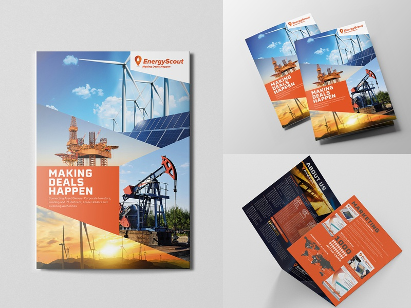 EnergyScout Corporate Brochure design international commercial assets investing investor oil and gas brochure brochure orange