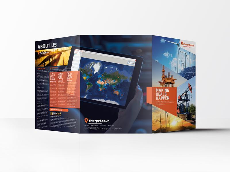 EnergyScout Corporate Brochure design design logo brand branding international commercial assets investing investor oil and gas brochure brochure orange