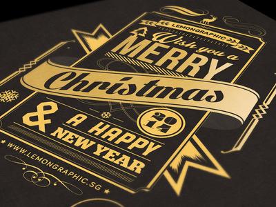 Christmas card typography gold stamp 2014 christmas christmas card christmas card 2014 merry christmas gold typography typography christmas typography hotstamp gold christmas tree 2014 new year card