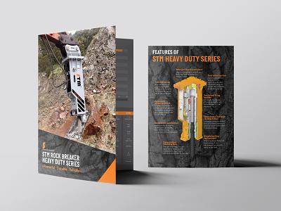 STM Rock Breaker - Heavy Duty Series Tri Fold A4 Brochure demolition mining safety heavy duty trifold brochure construction brochure rock rock breaker