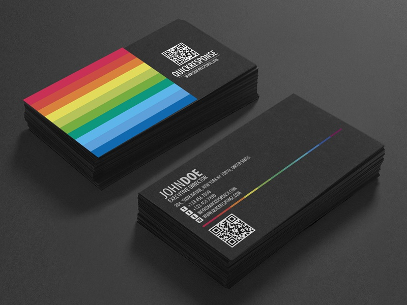 Quick response business card design version 04 business card brand colorful rainbow qr code qr rainbow card color namecard design graphic