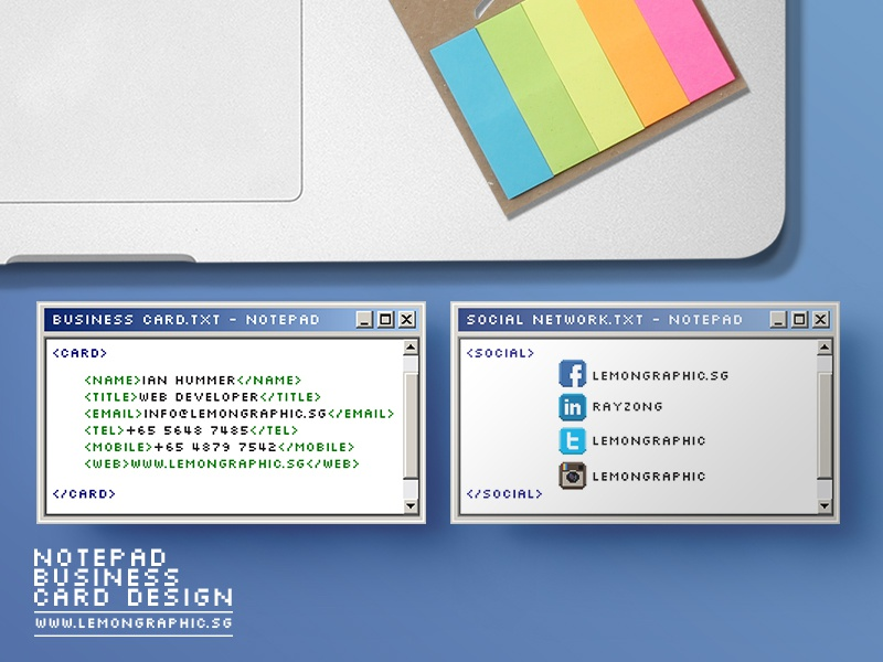 Notepad Programmer Business Card Design by Lemongraphic - Dribbble