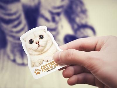 Cattery Folds of Jem business card design cat meow card business card namecard corporate card diecut animal cute creative unique kitten