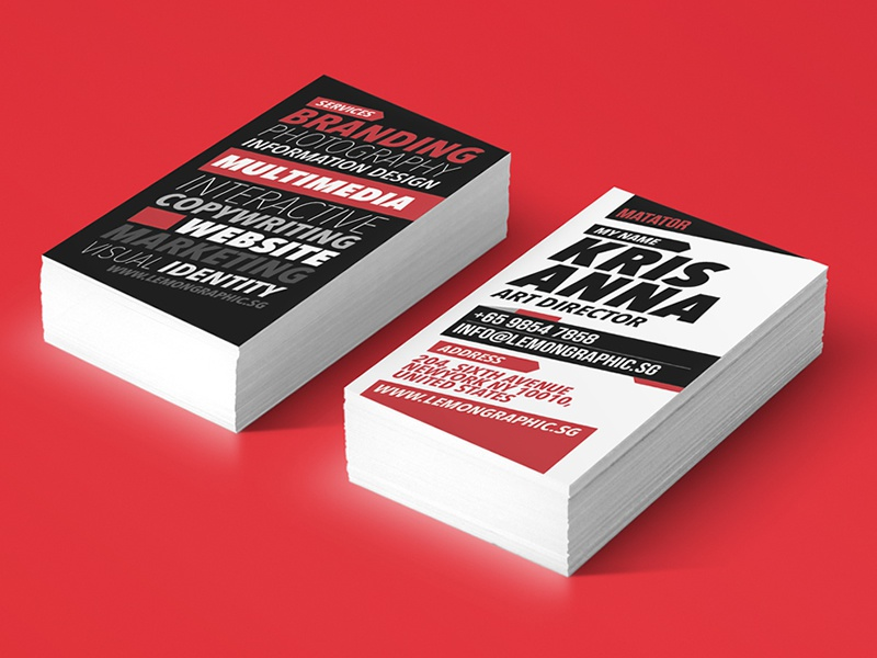 Matator Red Typography Business Card Design by Lemongraphic - Dribbble
