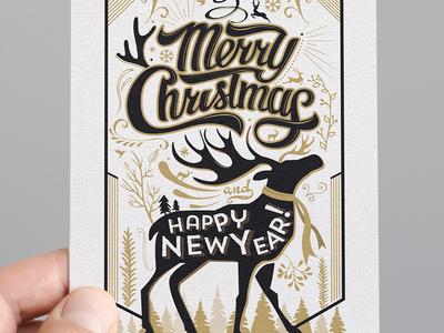 Typography Christmas Card Design 2015 typographycard christmas merrychristmas christmas card typography card typography christmas new year card elk reindeer christmas 2015 2016