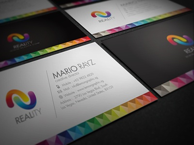 Reality Business Card black card brand branding business business card card clean colorful colorful business card colors corporate corporate business card creative business card futura landscape minimalism model modern name card pixel portfolio card print ready professional professional card rainbow rainbow card reality business card