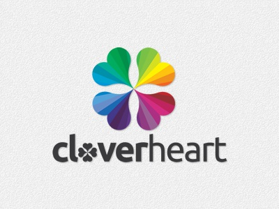 Clover heart logo brand brand name cloud clover colorful colors creative emblem graphic heart identity kiss label logo logotype love lucky marker petals professional rainbow sky stamp symbol technology trademark