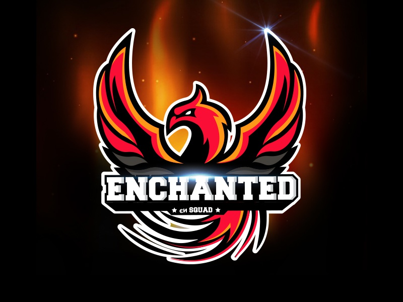 Enchanted Esport Logo mythic logotype logo bird wings red fire enchanted phoenix