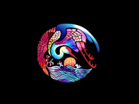 Japanese Oriental Stork Bird Logo Design