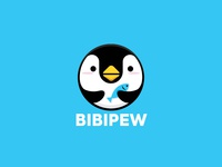 Bibipew Penguin Fish Logo Design