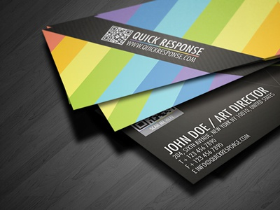 Qr Code Quick Response Business Card 01 black card brand branding business business card card clean colorful colorful business card colors corporate corporate business card creative business card detail business card futura landscape minimalism modern name card pixel portfolio card print ready professional professional card qr business card qr code quick response rainbow card
