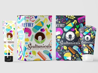 Soultanicals Packaging & illustration Design soultanicals afro african africa body lotion packaging herbal organic haircare bodycare illustration handcraft