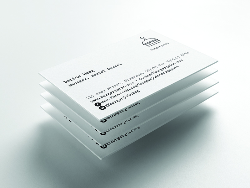 Burger Joint Singapore White Business Card By Lemongraphic