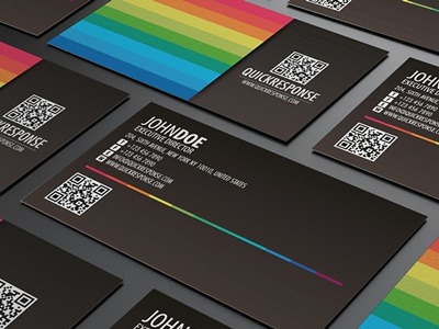 Quick response business card design version 04 black card brand branding business business card card clean colorful colorful business card colors corporate corporate business card creative business card detail business card futura landscape minimalism modern name card pixel portfolio card print ready professional professional card qr business card qr code quick response rainbow card