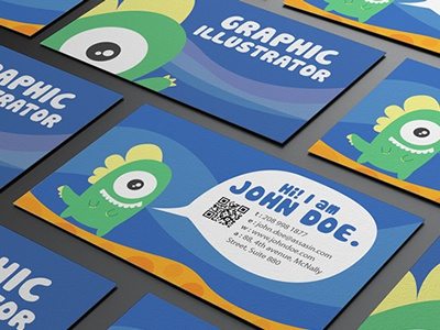 Graphic monster character design business card design dribbble