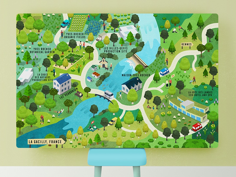 The La Gacilly Map Of Yves Rocher France By Lemongraphic On Dribbble