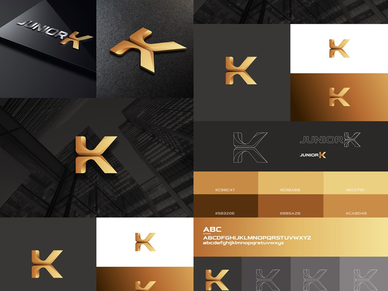 Junior K Black And Gold Branding Design Logo And Color Palette 0 By