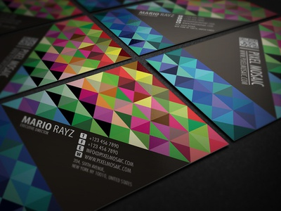 Pixel mosaic business card design by lemongraphic dribbble pixel mosaic business card design colourmoves