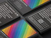 Rainbow typography business card 09