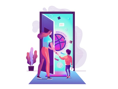 Enter to the new world concept design brand background abstruct art direction gridlab design gridlab dribbble color tranding illustration