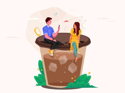 Coffee Time creative lover meeting coffee charecter design illustration