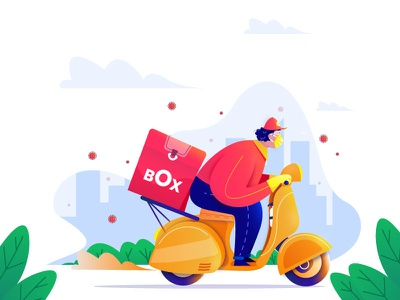 Delivery Boy charecter design illustration restaurent food delivery food box delivery