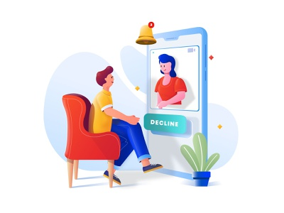 VIDEO CALL concept art character videocalling video call illustration
