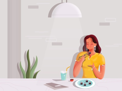 Let's eaT eat sushi food restaurent vector design illustration