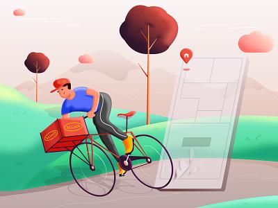 Quick service parcel delivery food charecter design illustration