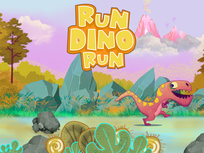 RUN DINO RUN typography icon ui logo character design graphic  design game charecter design illustration
