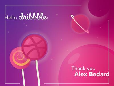 Hey Dribbble! thank you stars debut planets lollipops lollipop space design