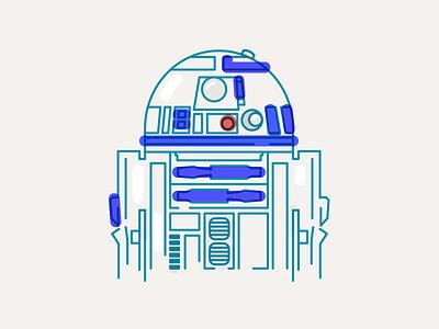 R2D2 illustration vector portrait line minimal illustration robot star wars r2d2