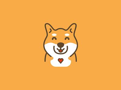 Happy dog hachiko shiba shiba inu heart illustration dog happy