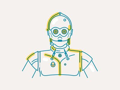 C3PO vector star wars robot c3po portrait minimal line illustration