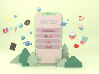 Everything gonna be okay - 3D phone world cinema4d illustrator character 3d illustration design illustration art illustration design