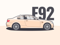 BMW e92 car side illustration bmw