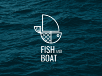 Fish and Boat simple modern boat fish logo